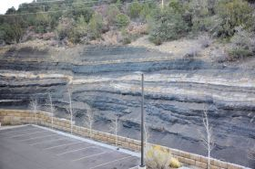 Draped coal overlaying a normal fault.
