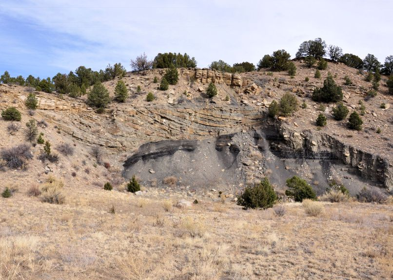 Lower Tertiary Raton Formation. Inclined heterolithic stratification on top of a coal seam.